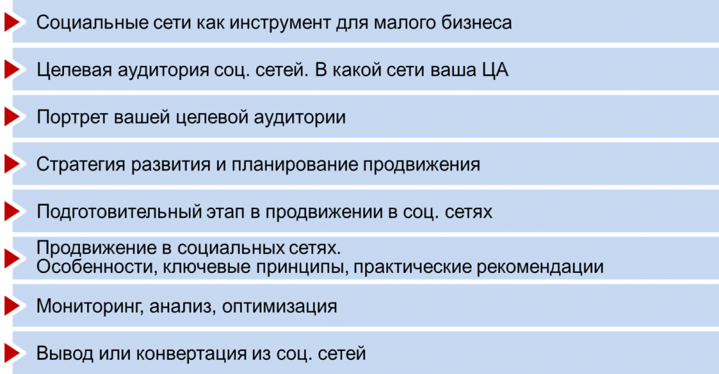 """содержание семинара Надежды Иверы """"реклама и продвижение в социальных сетях"""""""